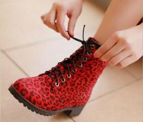 Leopard lace Martin boots casual cotton boots