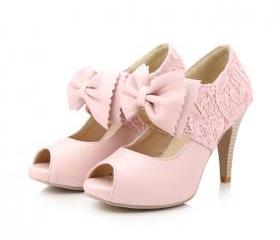 Sweet bow fish head high heels 8178WS