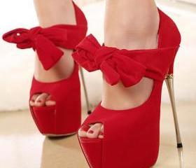 Red bowknot fish mouth high-heeled shoes 8613784