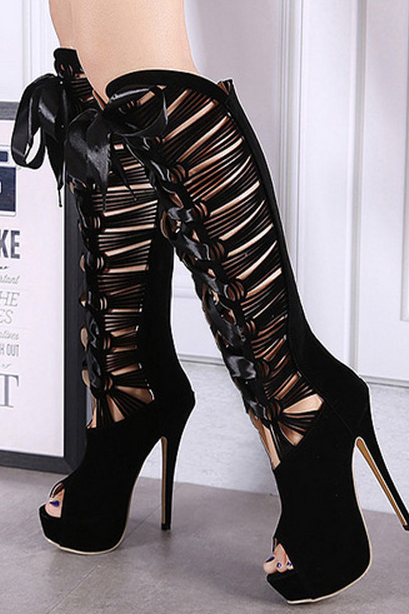 Sexy hollow out waterproof boots Heels 8706351